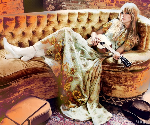 taylor swift vogue shoot Rodarte floral embroidered wool prairie coat (fall 2011) and marbled wool dress (fall 2009). Carlos Falchi